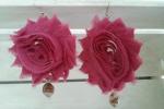 Orecchini fiori di chiffon fucsia con perle