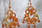 Orecchini gialli al chiacchierino, cristalli arancioni