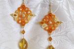 Orecchini gialli, cristalli in quarzo citrino