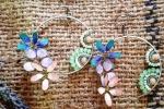 Orecchini Gioielli di smalto con fiori e cristalli