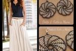 Orecchini Girandola pendenti  in tessitura di perline