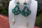 Orecchini handmade con cristalli Swarovski verdi