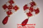 Orecchini handmade perle bianche e rosse