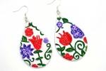 Orecchini in ceramica dipinti a mano a goccia con fiore