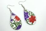 Orecchini in ceramica dipinti a mano a goccia con fiori