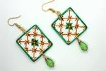 Orecchini in ceramica dipinti a mano quadrati verdi