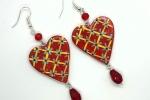 Orecchini in ceramica dipinti a mano a forma di cuore