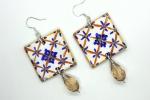 Orecchini in ceramica dipinti a mano quadrati