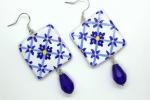 Orecchini in ceramica dipinti a mano maioliche quadrate blu