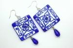 Orecchini in ceramica dipinti a mano quadrati blu