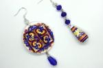 Orecchini in ceramica dipinti a mano cerchio e perla