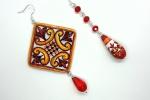 Orecchini in ceramica dipinti a mano rombo e perla