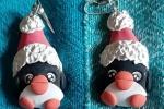 Orecchini in fimo a forma di pinguino