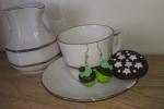 Orecchini in fimo cupcake verde e marrone
