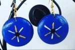 Orecchini in legno, interamente fatti a mano, colore blu