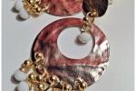 Orecchini in metallo battuto - Oro e bianco