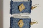 Orecchini pendenti in Jeans fatti interamente a mano