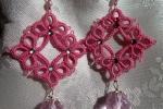 Orecchini lilla al chiacchierino, cristallo rosa, strass