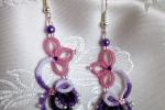 Orecchini lilla e viola al chiacchierino, perline viola