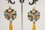 Orecchini lunghi tessitura di perline schema tizianat pezzo unico