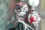 Orecchini nero, bianco e rosso