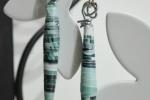 Orecchini pendenti con perline di carta verde acqua