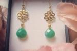 Orecchini pendenti in agata verde e argento 925 dorato