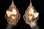 Orecchini pendenti in feltro marrone fatti a mano