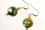 Orecchini pendenti in vetro di Murano oro