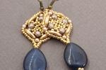 Orecchini pendenti tessitura di perline con goccia pietra dura giada blu