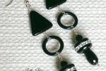 Orecchini cerchio in resina nera e pietre in onice nero con strass