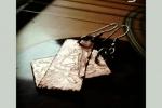 Orecchini realizzati in rame battuto rettangolari
