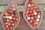 Orecchini rombo con filo di cotone lurex color oro rosa