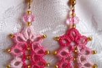 Orecchini rosa al chiacchierino, cristallo rosa