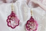 Orecchini rosa ed amaranto al chiacchierino, perle rosa