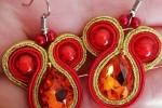 Orecchini soutache in color oro metallizzato e rosso