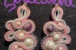 Orecchini Soutache rosa con pietre dure