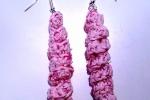 Orecchini spirali rosa e fucsia fatti a mano all'uncinetto