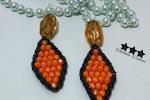 Orecchini uncinetto e tessitura con cristalli arancioni