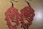 Orecchini uncinetto rosa in cotone