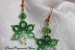 Orecchini verdi al chiacchierino, cristalli verdi, perline