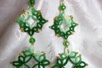 Orecchini verdi al chiacchierino, cristallo verde, perline