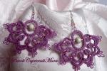 Orecchini viola al chiacchierino, perla in Argento 925, strass rosa