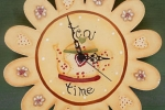 "Orologio in legno ""Tea-time"" dipinto a mano"