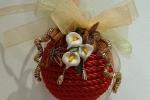 Palla di Natale decorata con la tecnica Biedermeier - rosso