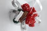 Pallina di natale in polistirolo da 6 cm personalizzata con fiori e cannella