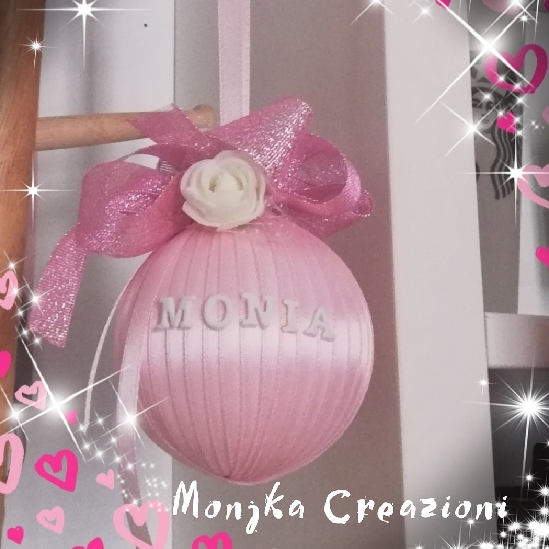 Amato Creazioni - Addobbi - Pallina di natale con nastro di raso rosa CM35