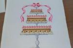 Pannello ricamato a punto croce da incorniciare torta