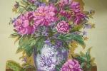 Pannello ricamato a punto croce da incorniciare vaso fiori