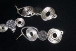 parure anello orecchini bottone metallo